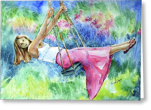 Girl On A Swing  Greeting Card by Trudi Doyle