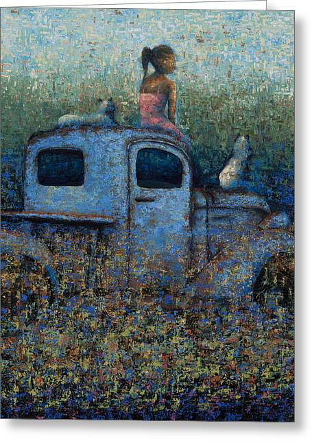 Girl On A Truck Greeting Card by Ned Shuchter