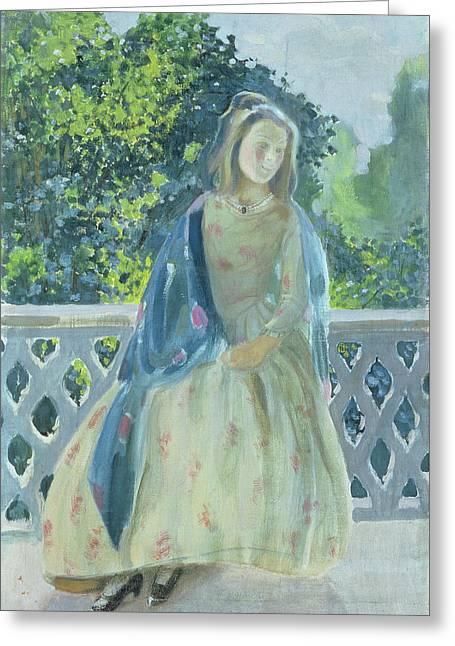Girl On Balcony, 1900 Greeting Card