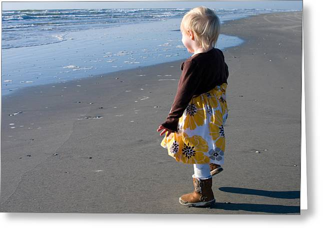 Greeting Card featuring the photograph Girl On Beach by Greg Graham