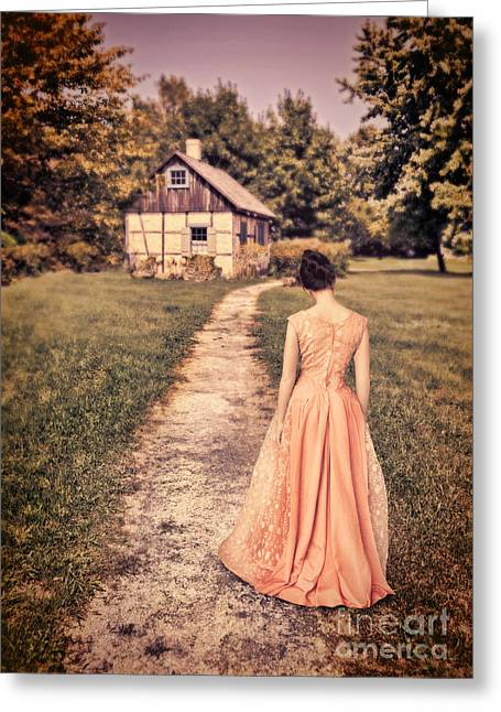 Girl On Path By Cottage Greeting Card