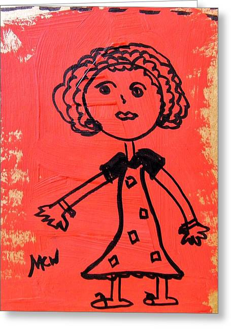 Greeting Card featuring the painting Girl On Red by Mary Carol Williams