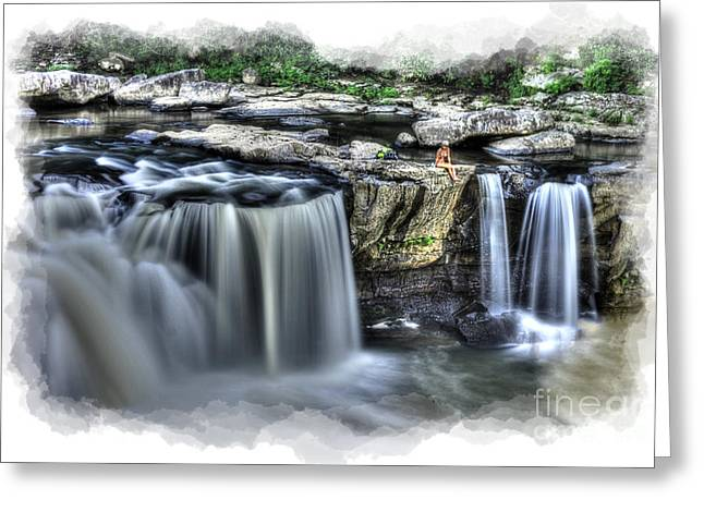 Girl On Rock At Falls Greeting Card by Dan Friend
