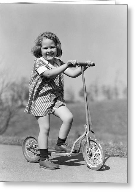Girl On Scooter, C.1930s Greeting Card