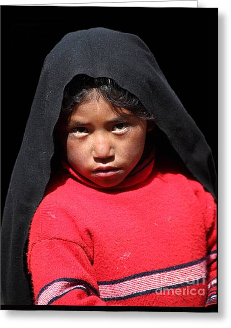 Girl On Taquile Island Greeting Card by James Brunker