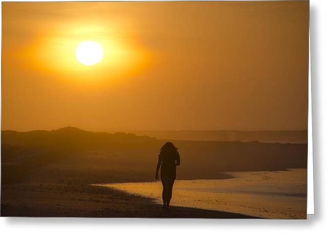 Girl On The Beach  Greeting Card by Bill Cannon
