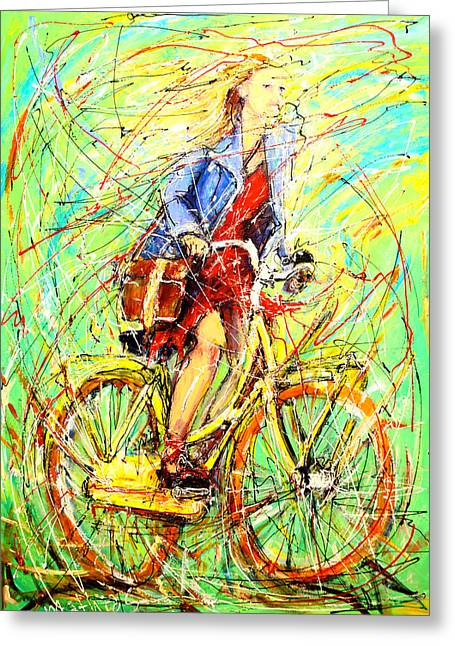 Girl On The Bike Greeting Card by Mathias