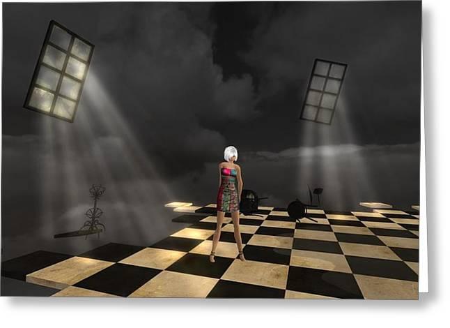 Greeting Card featuring the digital art Girl On The Floor by Susanne Baumann