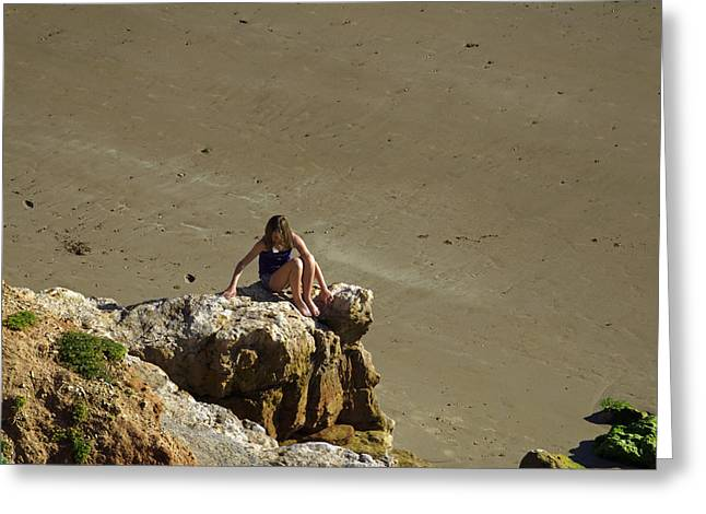 Girl On The Rocks - Compton Bay Greeting Card by Rod Johnson