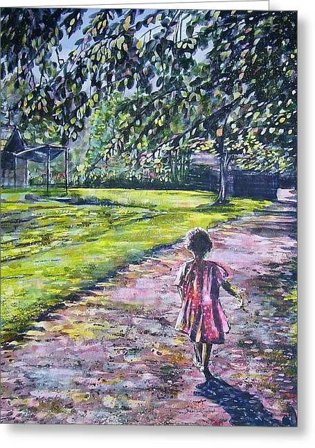 Girl On Trail Greeting Card by Linda Vaughon