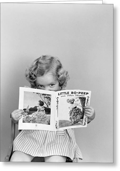 Girl Peeking Over Little Bo-peep Book Greeting Card by H. Armstrong Roberts/ClassicStock