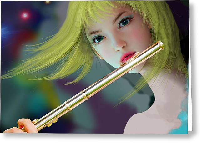 Girl Playing Flute 2 Greeting Card
