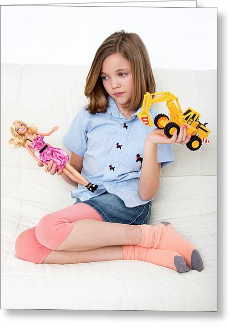 Girl Playing With Doll And Toy Truck Greeting Card by Lea Paterson