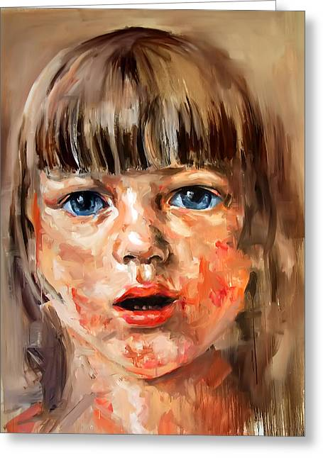 Girl Portrait Greeting Card by Michael Tsinoglou