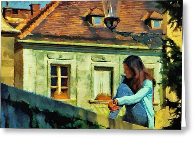 Greeting Card featuring the painting Girl Posing On Stone Wall by Jeff Kolker