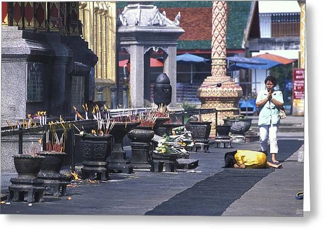 Girl Praying In Front Of Buddhist Temple Near Chang Mai Greeting Card by Richard Berry