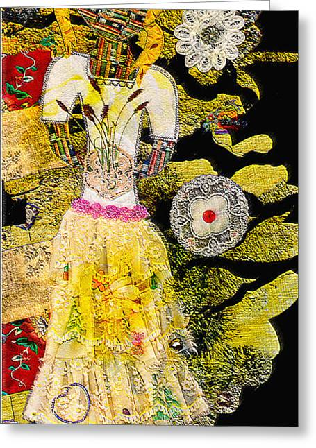 Girl Quilt - Fabric Girl - Nature Girl - Yellow Sunlight Greeting Card by Marie Jamieson