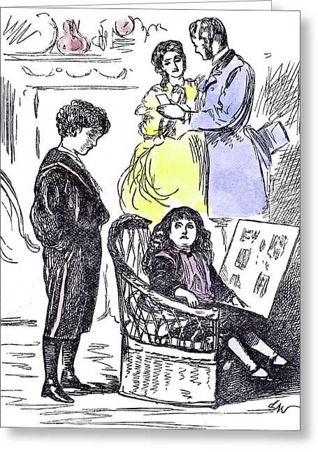 Girl Reading At Home 1874 Chair Parents Brother Sister Greeting Card