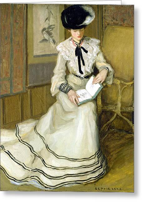 Girl Reading Greeting Card by Carl Frieseke