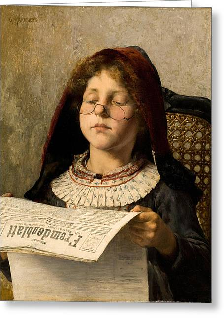 Girl Reading Greeting Card by Georgios Jakovidis
