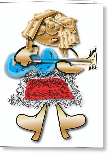 Greeting Card featuring the digital art Girl Rocker 6 String Guitar by Marvin Blaine