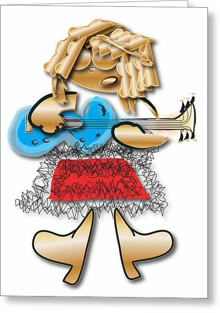 Girl Rocker 6 String Guitar Greeting Card