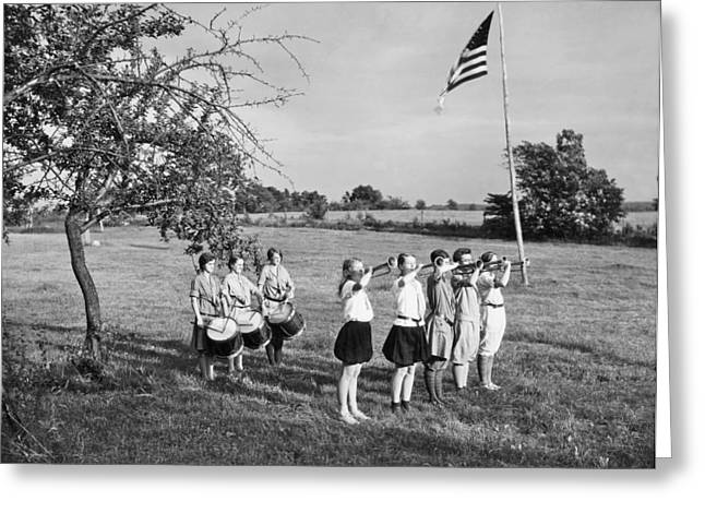 Girl Scout Camp Flag Ceremony Greeting Card by Underwood Archives