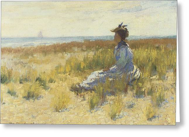 Girl Seated By The Sea Greeting Card by Robert Henri