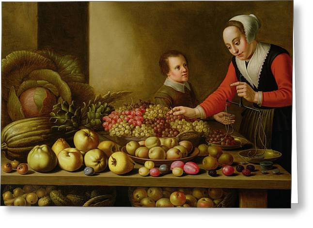 Girl Selling Grapes From A Large Table Laden With Fruit And Vegetables Greeting Card