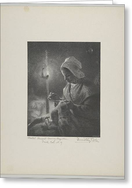 Girl Sewing By Lamplight Greeting Card