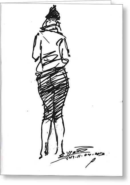 Girl Sketch Greeting Card
