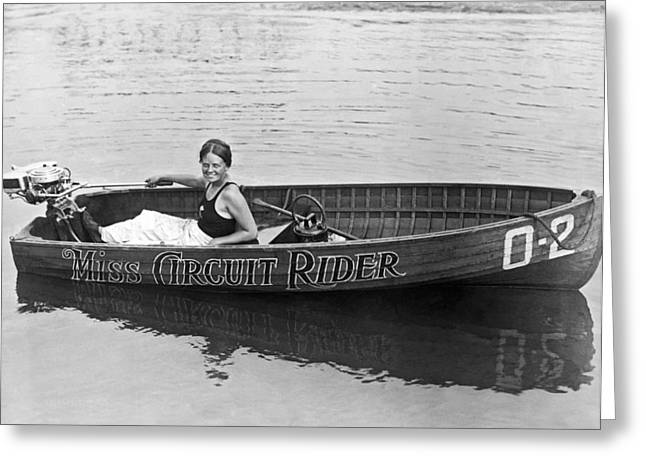 Girl Speedboatdriver To Race In President's Cup Races Greeting Card by Underwood Archives