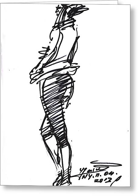Girl Standing Greeting Card by Ylli Haruni