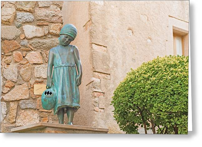 Girl Statue In Tossa De Mar Medievaltown In Catalonia Spain Greeting Card