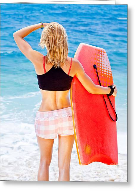 Girl Surfer On The Beach Greeting Card by Anna Om