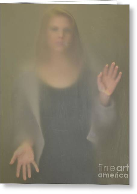 Girl Under Glass 1 Greeting Card by Ray Dauphinais