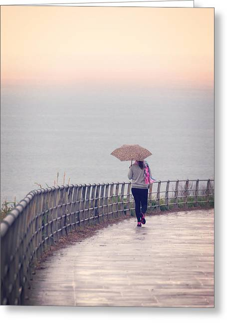 Girl Walking With Umbrella Greeting Card