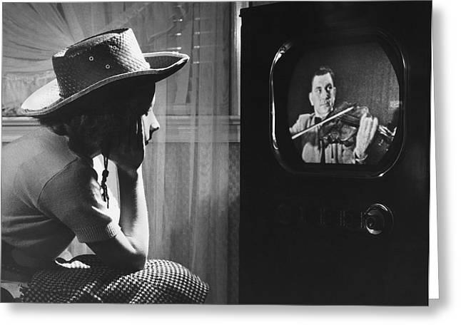 Girl Watching Tv Greeting Card