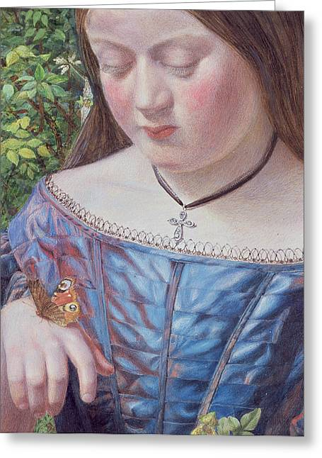 Girl With A Butterfly Greeting Card by William J Webb