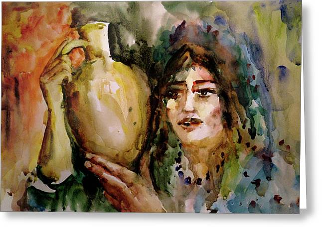 Girl With A Jug. Greeting Card