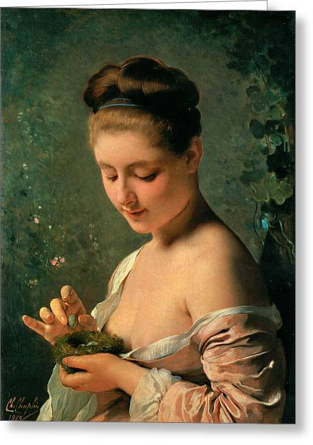 Girl With A Nest Greeting Card by Charles Chaplin