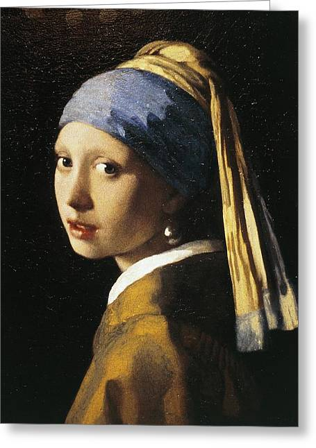 Girl With A Pearl Earring, C.1665 Oil On Canvas Greeting Card