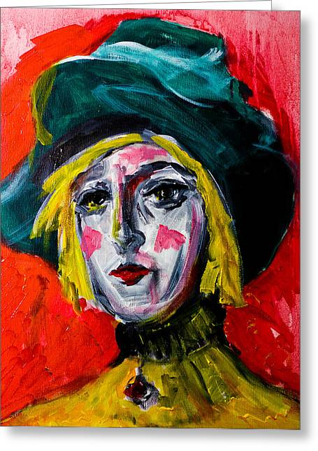 Girl With A Green Hat Greeting Card