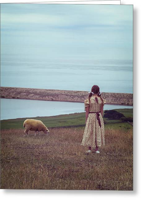 Girl With A Sheep Greeting Card by Joana Kruse