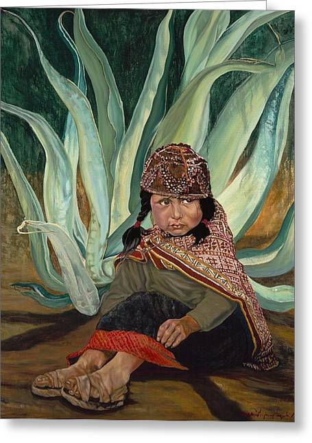 Girl With Agave Greeting Card