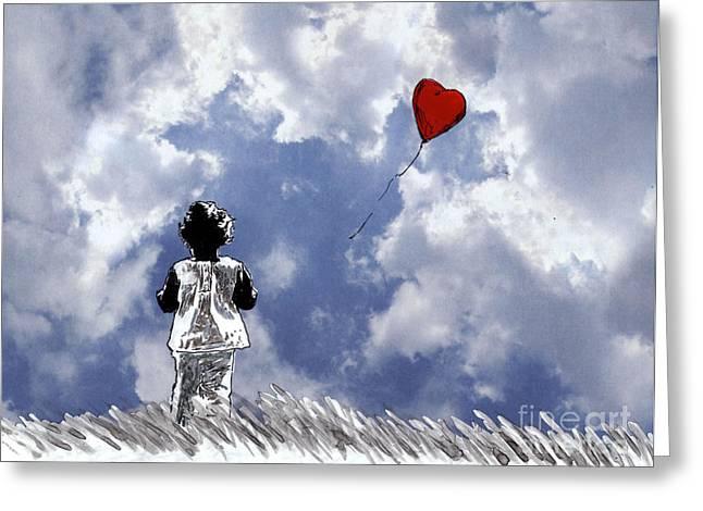 Girl With Balloon 2 Greeting Card by Jason Tricktop Matthews