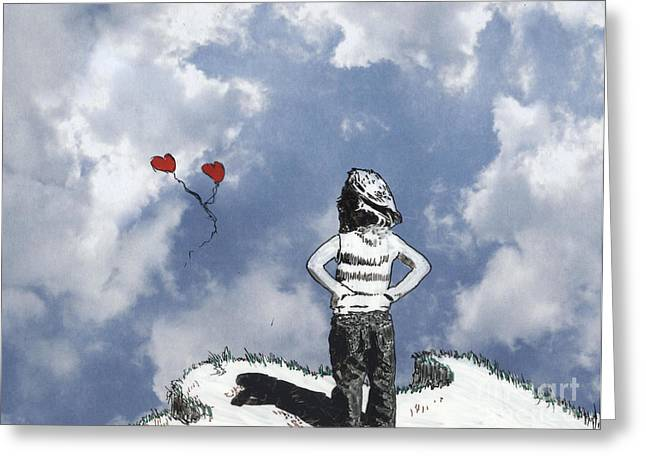 Girl With Balloons 4 Greeting Card by Jason Tricktop Matthews