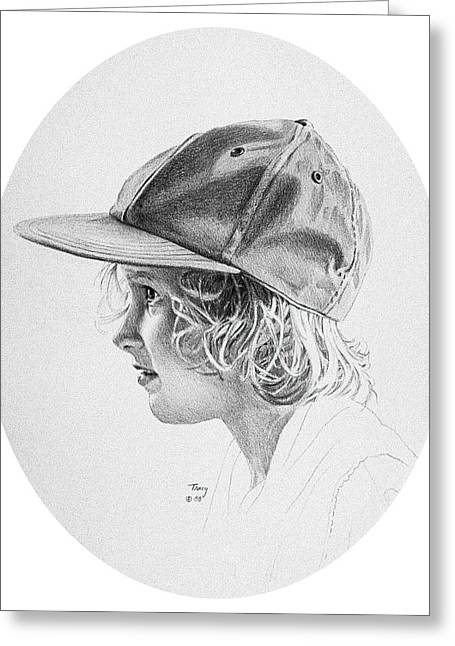 Girl With Baseball Cap Greeting Card by Robert Tracy