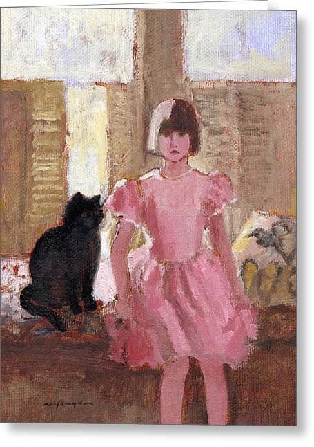 Girl With Black Cat Greeting Card by J Reifsnyder