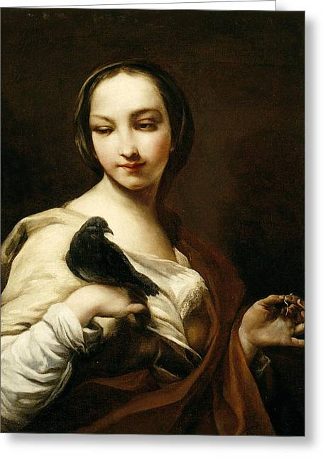 Girl With Black Dove Greeting Card